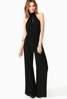 Black Halter Backless Bow Loose Jumpsuit US$18.00