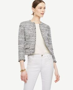 bd9ec840f0 Featuring a refined grid pattern, our fringed tweed jacket adds a fresh  twist to classic