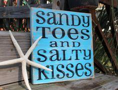 Beach Sign Sandy Toes Salty Kisses Coastal Beach House Nautical Decor Nursery Decor