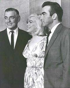 Marilyn posing with Clark Gable and Monty Clift at the Mapes Hotel in Reno.