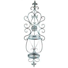 Antique Blue Metal Wall Sconce with Glass