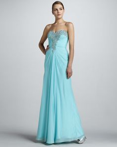 La Femme Boutique Strapless Gown with Beaded Bodice Aqua Prom Dress, Strapless Cocktail Dresses, Prom Party Dresses, Formal Evening Dresses, Formal Gowns, Evening Gowns, Strapless Dress Formal, Evening Party, Affordable Wedding Dresses
