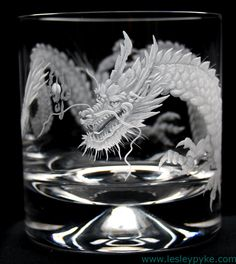Hand engraved crystal whisky glass, Japanese dragon - by Lesley Pyke - Dragon Horse, Dragon Art, Dragon Glass, Crystal Dragon, Glass Engraving, Hand Engraving, Cut Glass, Glass Art, Cool Dragons