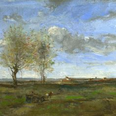 """A Wagon in the Plains of Artois"" Jean Baptiste Camille Corot"
