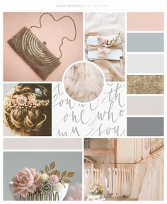 Brand Launch: Lace & Bustle Bridal | brand mood board | soft, lace, vintage blue, light pink, calligraphy |