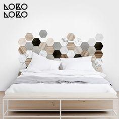 Vinyl decor of wood and ceramic hexagonal tiles Bedroom Bed Design, Home Decor Bedroom, Vinyl Dekor, Headboard Decor, Headboards For Beds, Decorating Small Spaces, New Room, Furniture Decor, Ceramic Furniture