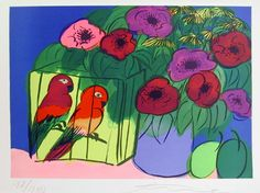 Walasse Ting - Two Birds with Flowers