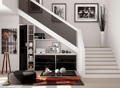 Office Under Stairs, Shelves Under Stairs, Space Under Stairs, Staircase Storage, Under Stairs Cupboard, Home Stairs Design, Interior Stairs, Home Interior Design, House Design