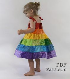 Rainbow Dress PDF Pattern - Toddler/Girls Patchwork Sundress Sewing Tutorial - Instant Download via Etsy