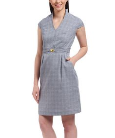 Love this Navy & White Plaid V-Neck Dress on #zulily! #zulilyfinds