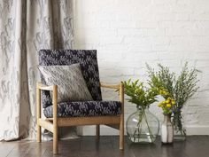 Yuma fabric in Dove Grey made into curtains, chair covered in Maricopa canvas in Black and Maricopa Cushion in Dove Grey