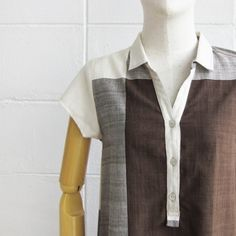 Check Pattern Short Sleeve Shirt Dresses Botanical Dyed Cotton Brown Color-Button and Neck Detail-www.tanbagshop.com