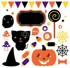 Halloween party set isolated on white - Buy this stock vector and explore similar vectors at Adobe Stock Halloween Party, Adobe, Vectors, Cards, Stuff To Buy, Explore, Cob Loaf, Maps, Playing Cards