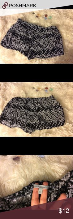 Tribal Comfy Shorts Super cute shorts! Black and white. Good condition but the elastic seems pulled just the slightest bit. Rave festival boho gothic punk indie girly   •Please feel free to make offers! ✅ BOGO $10& under! Sales through Posh only! I am able to model most items I have posted! If I haven't already- just ask 😊 Please ask for measurements if you need them! I include a small gift when gifts are available ☺️ Charlotte Russe Shorts
