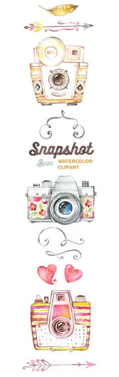Snapshot. Watercolor handpainted cameras clipart by OctopusArtis