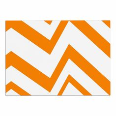KESS InHouse NL Designs 'Zigzag Orange' Tangerine White Dog Place Mat, 13' x 18' -- Hurry! Check out this great product (This is an amazon affiliate link. I may earn commission from it)