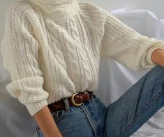SOLD Vintage off-white warm cable knit mock neck, best fits xs-s. DM or comment . SOLD Vintage off-white warm cable knit mock neck, best fits xs-s. Neue Outfits, Style Outfits, Casual Outfits, Fashion Outfits, Outfits With Mom Jeans, Style Fashion, Outfits Otoño, Parisian Fashion, Skirt Outfits