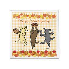 Dancing Labrador Trio Thanksgiving Paper Napkin by Naomi Ochiai #Labrador #LabradorRetriever #thanksgiving #dog #happylabradors.com