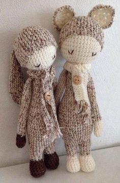 RITA the rabbit & KIRA the kangaroo made by Tineke F. / crochet patterns by lalylala