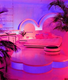 What would it be like to have a neon bedroom? I'd be a character out of Blade Runner . maybe a porn star. I'd lay in bed with an outrageous wig and read trippy Neil Gaiman novels? 70s Bedroom, Neon Bedroom, Girls Bedroom, Bedroom Decor, Bedrooms, Bedroom Ideas, Bed Ideas, Neon Aesthetic, Aesthetic Bedroom