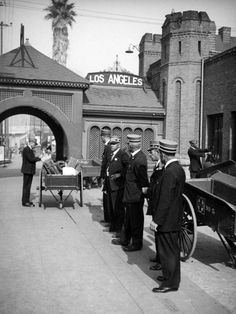 Baggage handlers at the Santa Fe Railroad's La Grande Station, circa 1937. Two years later, the train station (opened in 1893) would be torn down and replaced by Union Station. The La Grande's terminal was located on the corner of 2nd and Santa Fe Avenue. (Photographer: Herman J. Schultheis/ LAPL: 00098732) Bizarre Los Angeles