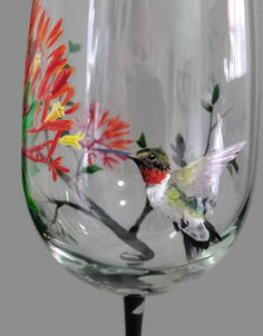 Hummingbird Wine Glass Hand Painted Floral Tree Summer Bird Unique Artisan Stemware Nature Love Gift Colorful Exotic Pets Seasonal Barware