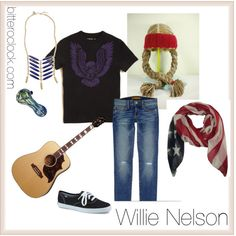 """Willie Nelson Costume - featuring Crochet Hat"" by bitteroclock on Polyvore"