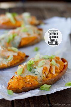 Heat + Sweet perfection!! Twice Baked Buffalo Chicken Sweet Potatoes via Taste and Tell #wings
