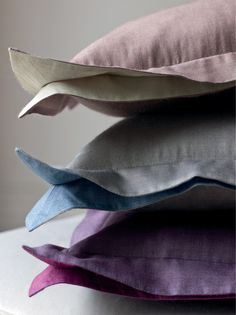 Triomphe pillow covers in silk/viscose with double flange by #YvesDelorme other colors available