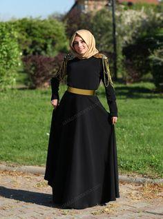Omuzları Apoletli Altın Kemerli Elbise 9434 - Siyah - Mustafa Dikmen