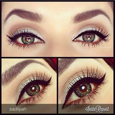 This is really pretty :) I love white and brown eye makeup, and the slight shimmer is a nice touch!
