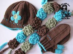 IDEA COMBINACION DE COLORES gorro bufanda...de flores