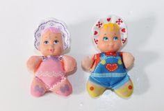 Vintage-1980s-SO-SMALL-BABIES-Galoob-Mini-Bean-Bag-Dolls-Lot-of-2-SUPER-RARE