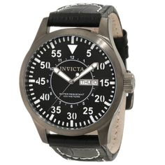 Invicta Men's Specialty Outdoor Military Quartz Stainless Steel Leather Strap Watch Only $99.99