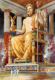 zeus sculpture Statue of Zeus at Oympia. Illustration from Worlds Wonders (Associated Newspapers, c Greek History, Ancient History, Art History, Ancient Greek Art, Ancient Rome, Ancient Greece, Zeus Statue, Greece Mythology, Classical Greece
