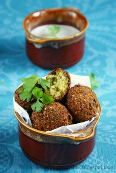 Falafel (Middle Eastern Chickpea Croquets) with Tahini Sauce