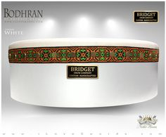 NobleWares Image of 14 inch x 4.5 inch Pro Tunable Bodhran with Straight Bar 14BBPTS in White Finish by Bridget Drum Company of Canada