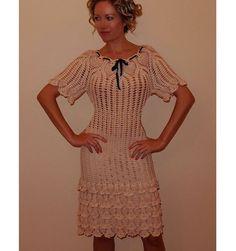 crochet dress patterndetailed tutorialcrochet by ThePoshCrochet Crochet Summer Dresses, Summer Dress Patterns, Crochet Lace Dress, Lace Ruffle, Dress Lace, Crochet Wedding, Boho Dress, Short Sleeve Dresses, Outfits
