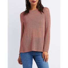 Charlotte Russe Sparkle Fishnet Long-Sleeve Top ($22) ❤ liked on Polyvore featuring tops, mauve, red top, sparkly tops, red lace up top, sleeveless tops and red long sleeve top