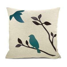 Turquoise throw pillow case - Black and teal birds in nature applique on natural beige canvas