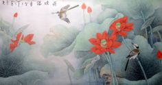 "ORIENTAL ASIAN ART ""52wx25h"" CHINESE PAINTING about lotus flowers,birds US $60.99"