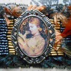 """Bracelet manchette vintage """"la liseuse au petit chien"""", esprit baroque romantique"""