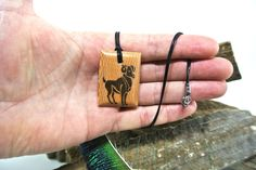 This item is unavailable Ink Transfer, Zodiac Capricorn, Wooden Necklace, Leather, Handmade, Etsy, Jewelry, Wood Necklace, Hand Made