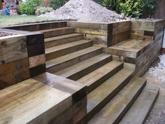 Steps, walls & Patio with new railway sleepers : Steps, walls & Patio with new railway sleepers Sloped Backyard, Sloped Garden, Backyard Patio, Backyard Landscaping, Garden Stairs, Terrace Garden, Garden Paths, Terraced Patio Ideas, Sleeper Retaining Wall