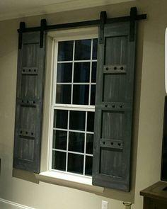 Interior Window Barn Door - Sliding Shutters - Barn Door Shutter Hardware Packages Available - Farmhouse Style - Rustic Wood Shutter & Interior Window Barn Door - Sliding Shutters - Barn Door Shutter ... Pezcame.Com