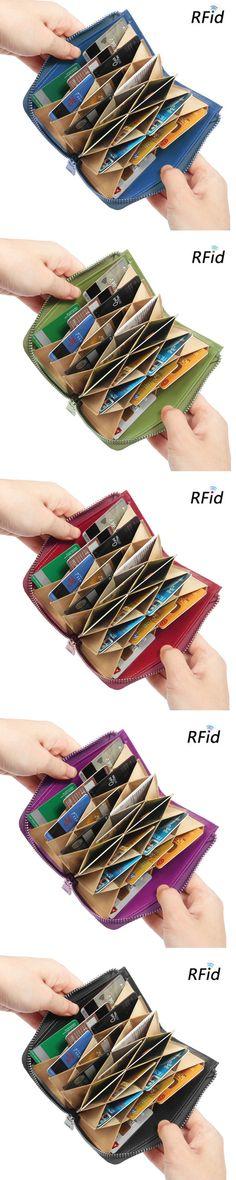 【US$20.99】Brenice Genuine Leather 17 Credit Card Holder Zipper Case Holder Short Purse #wallets #RFIDwallets #cardholder #cardwallets