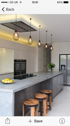 6 Beautiful Kitchen Lighting Ideas For Your New Kitchen Polished Concrete Countertops, Concrete Kitchen, Kitchen Countertops, Kitchen Island, Industrial Kitchen Design, Contemporary Kitchen Design, Contemporary Interior, Beautiful Kitchens, Cool Kitchens