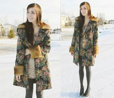 Miss Patina Faux Fur Tapestry Jacket, Club Couture Beige Dress, Windsor Gold Sequin Skirt