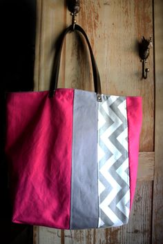Tiny Fete Chevron Carryall by tinyfete on Etsy, $70.00 someone buy this for me pleasssse. Iove hot pink!