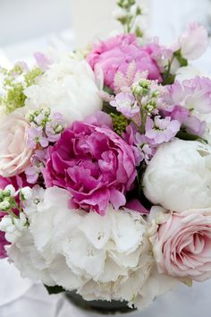 flowers, pink, white, bouquet!  .❤️Aline